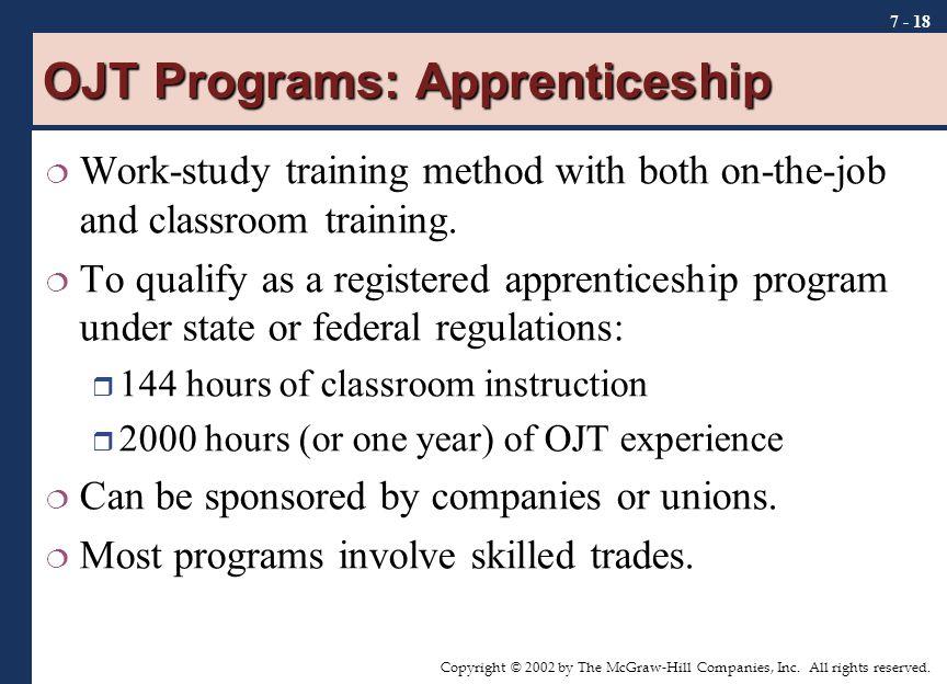OJT Programs: Apprenticeship