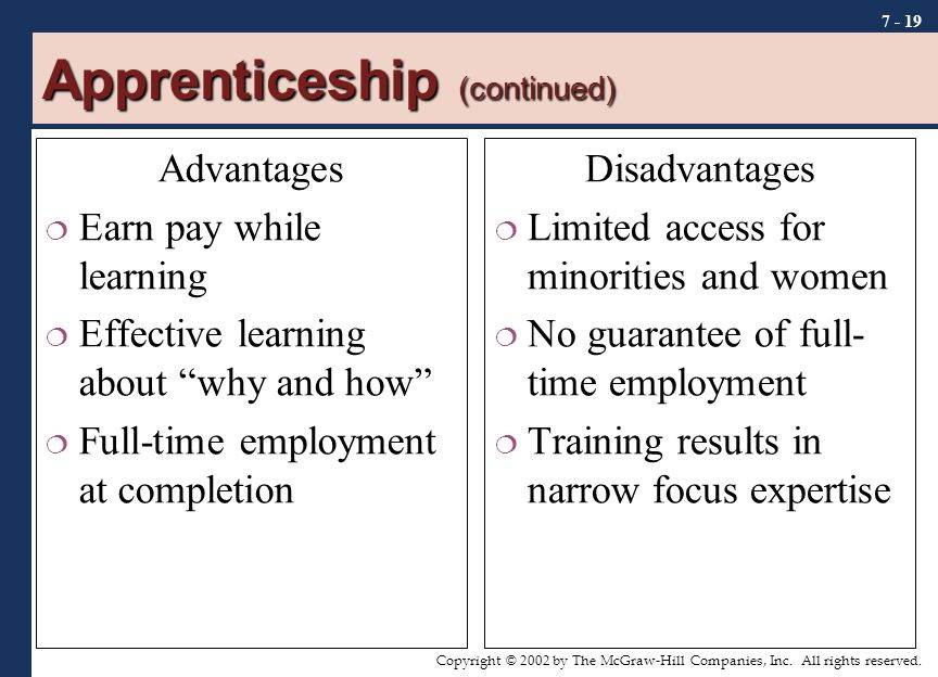 Apprenticeship (continued)