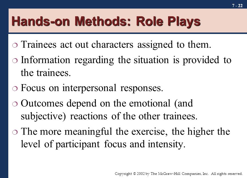 Hands-on Methods: Role Plays