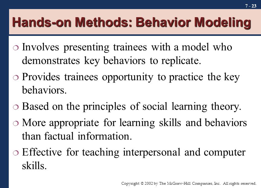 Hands-on Methods: Behavior Modeling