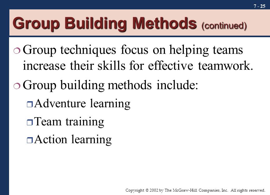 Group Building Methods (continued)