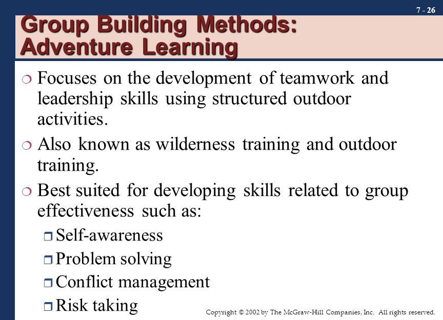 Group Building Methods: Adventure Learning