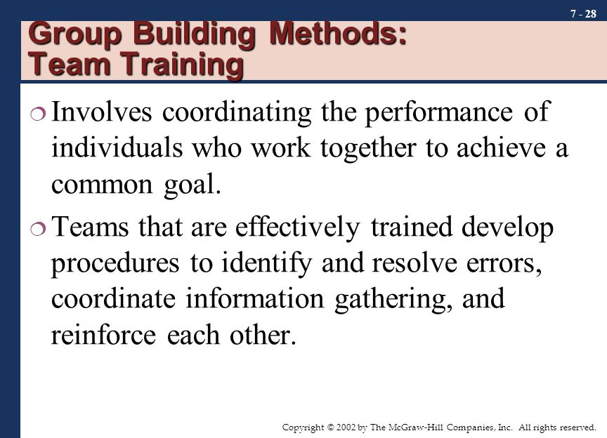 Group Building Methods: Team Training