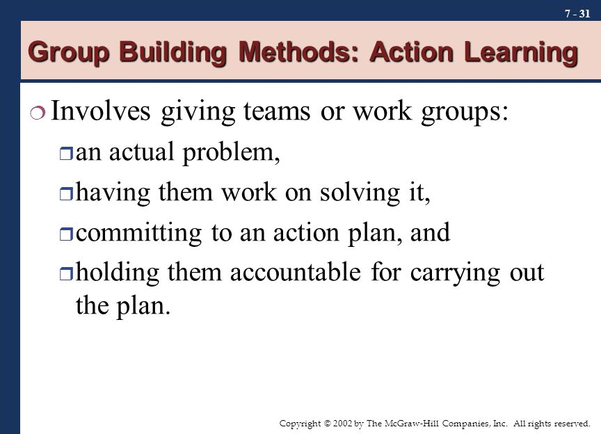 Group Building Methods: Action Learning