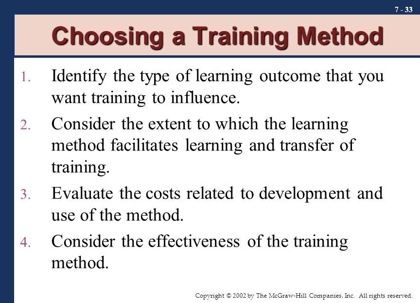 Choosing a Training Method