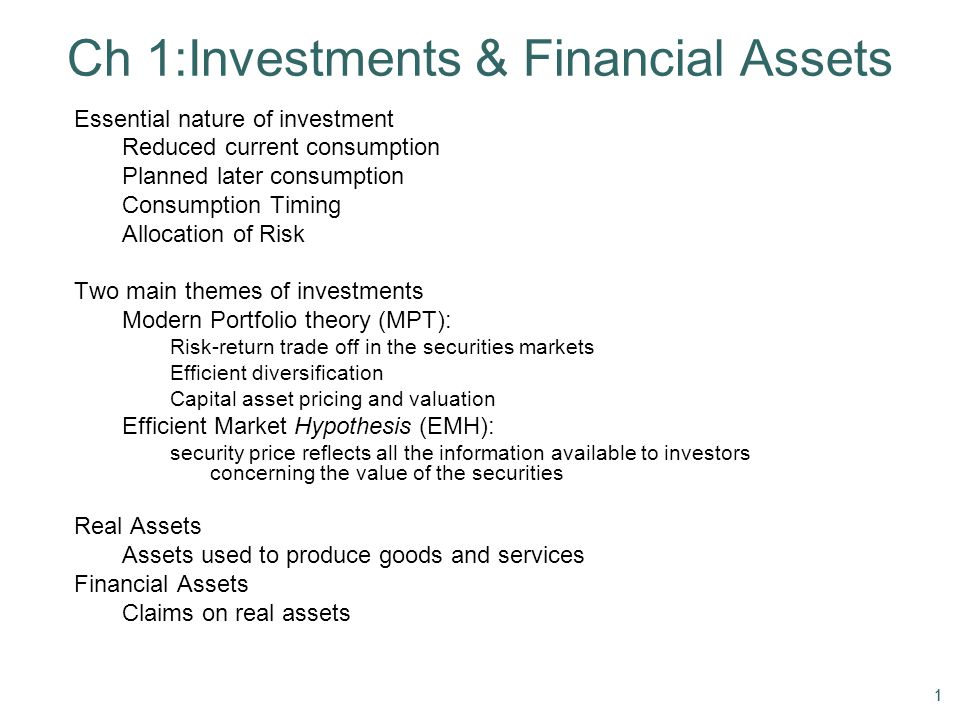 Ch 1:Investments & Financial Assets