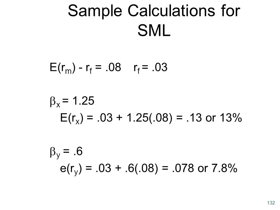 Sample Calculations for SML