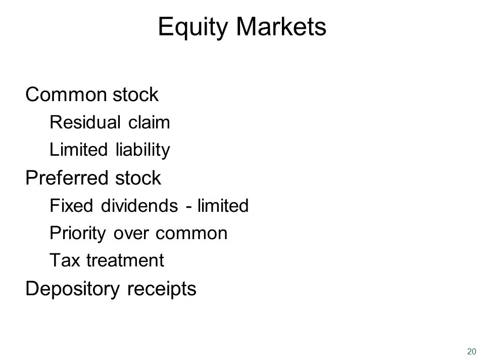 Equity Markets Common stock Preferred stock Depository receipts