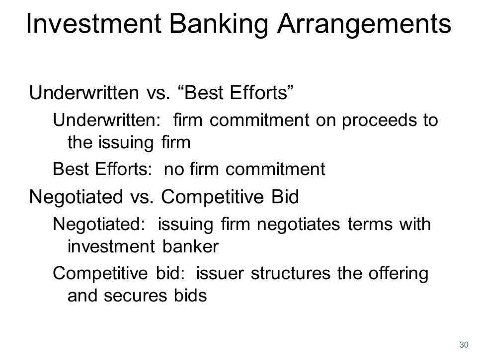 Investment Banking Arrangements