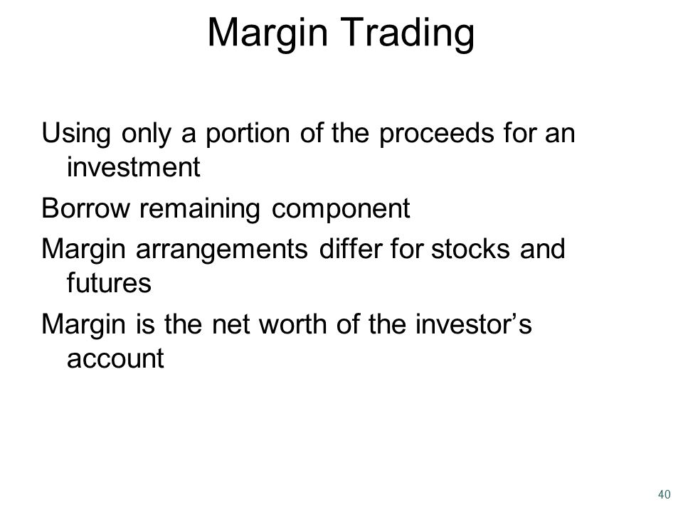 Margin Trading Using only a portion of the proceeds for an investment