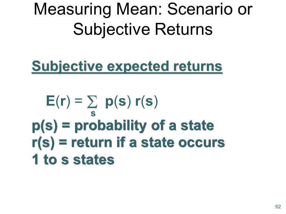 Measuring Mean: Scenario or Subjective Returns