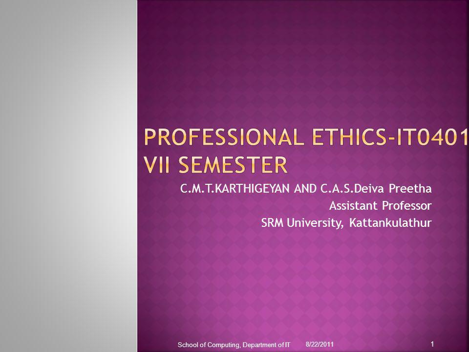 Professional ethics-it0401 vii semester