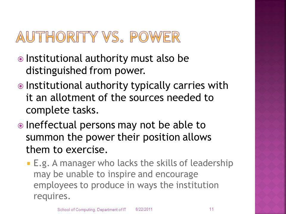 Authority vs. power Institutional authority must also be distinguished from power.