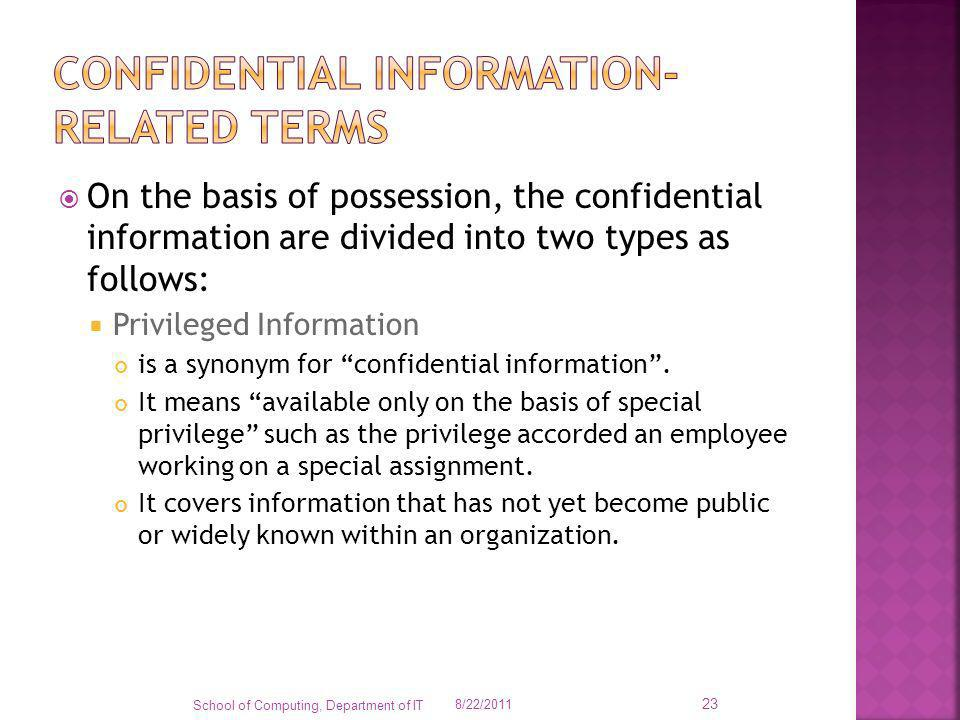 confidential information-related terms