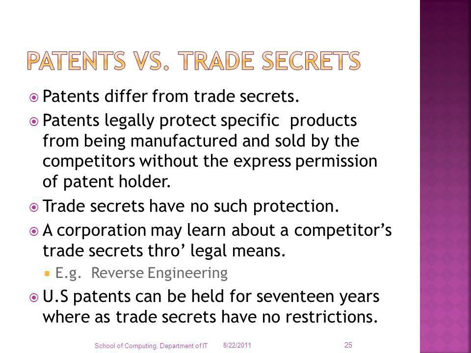 Patents vs. trade secrets