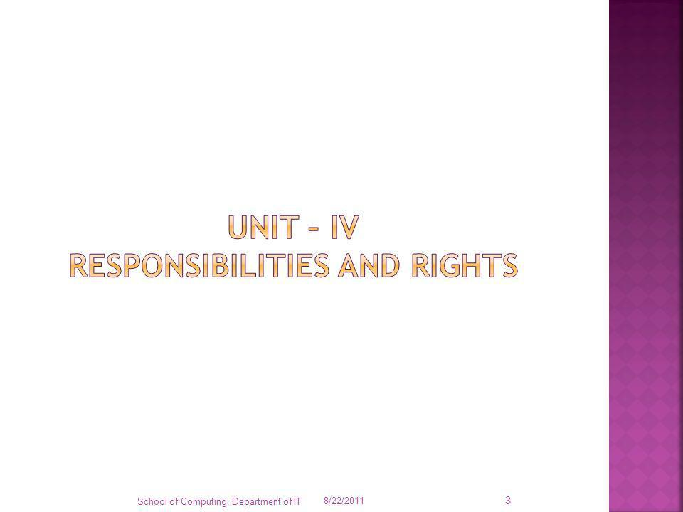 Unit – iv responsibilities and rights