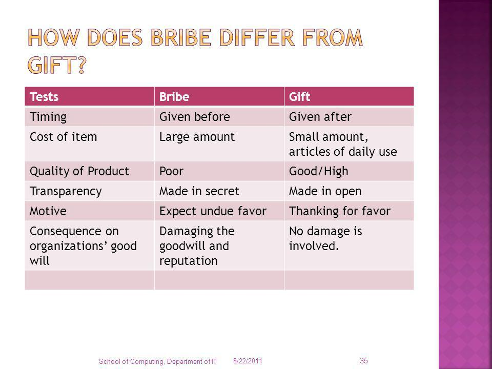 How does bribe differ from gift