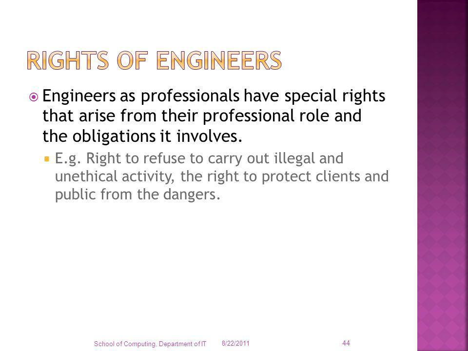 Rights of engineers Engineers as professionals have special rights that arise from their professional role and the obligations it involves.