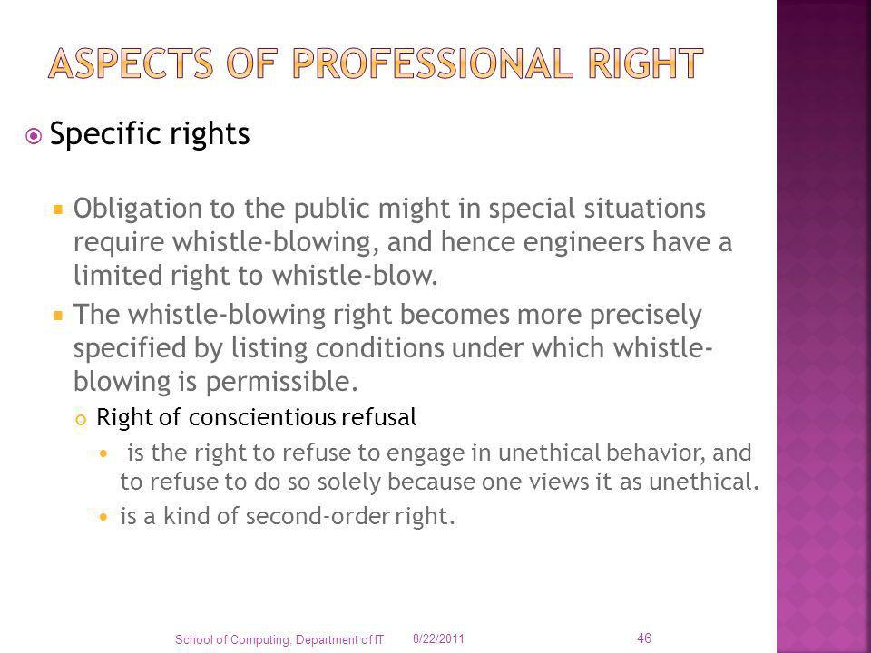Aspects of professional right