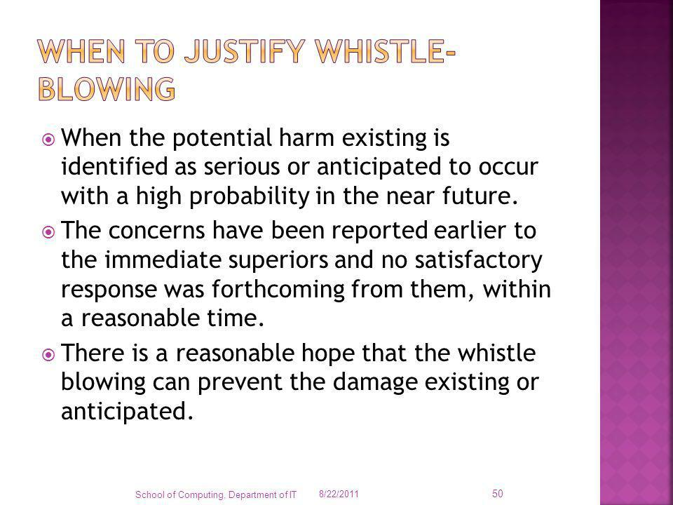 When to justify whistle-blowing