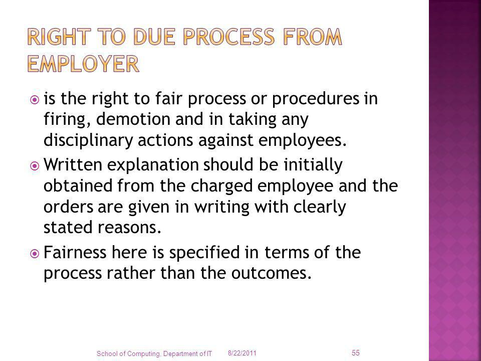 Right to due process from employer