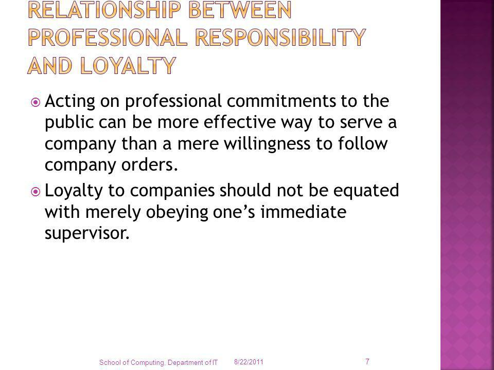 Relationship between professional responsibility and loyalty