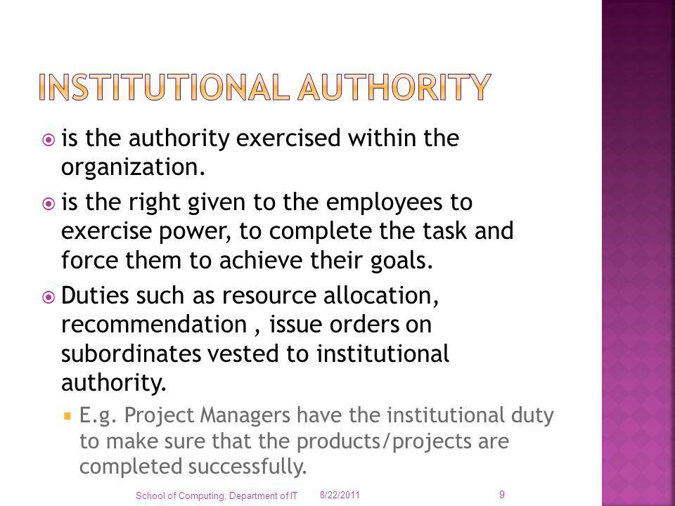 Institutional authority