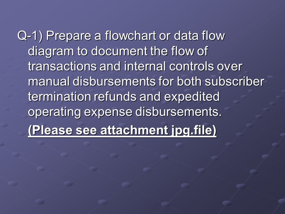 Q-1) Prepare a flowchart or data flow diagram to document the flow of transactions and internal controls over manual disbursements for both subscriber termination refunds and expedited operating expense disbursements.