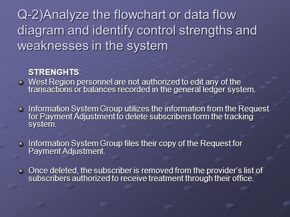 Q-2)Analyze the flowchart or data flow diagram and identify control strengths and weaknesses in the system