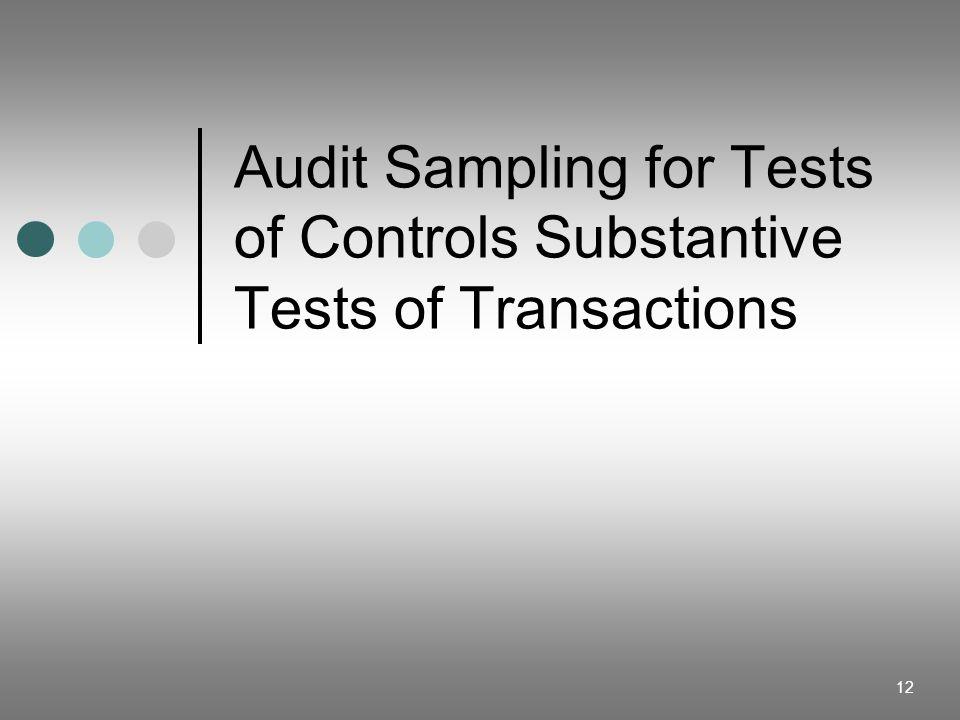Audit Sampling for Tests of Controls Substantive Tests of Transactions