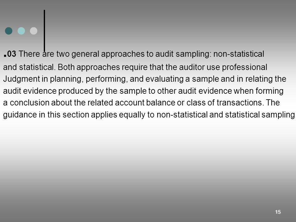 .03 There are two general approaches to audit sampling: non-statistical