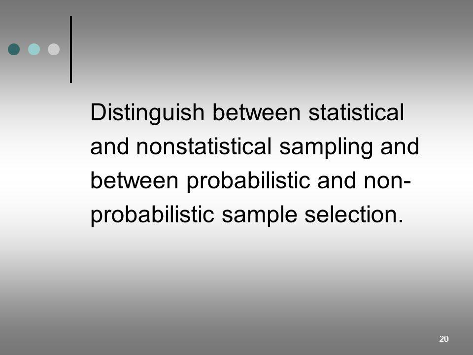 Distinguish between statistical