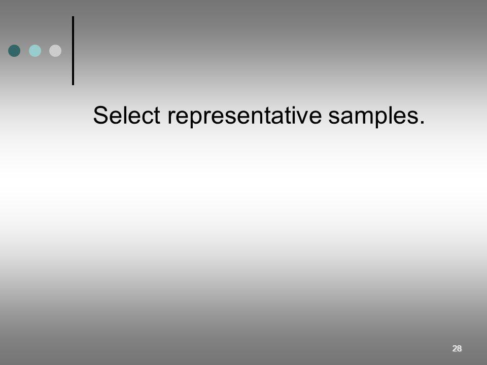 Select representative samples.
