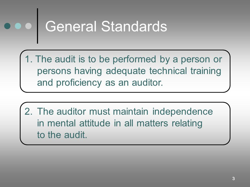 General Standards 1. The audit is to be performed by a person or