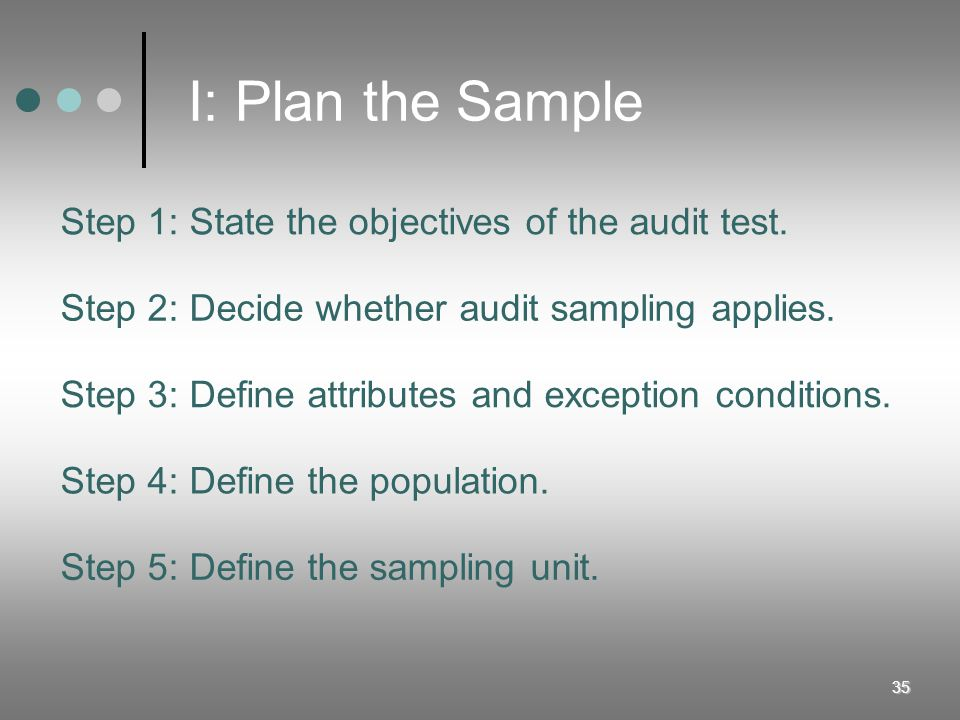 I: Plan the Sample Step 1: State the objectives of the audit test.