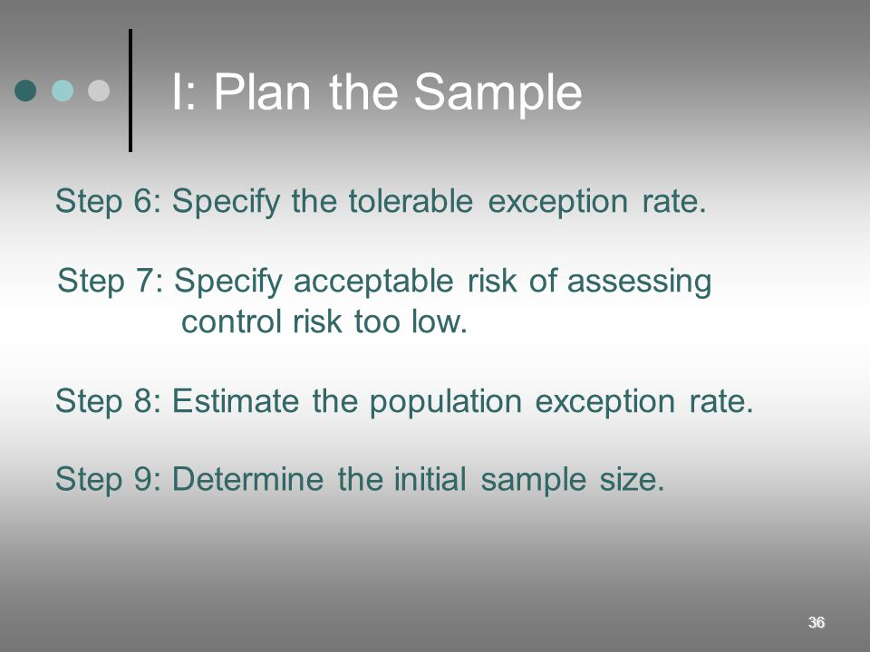 I: Plan the Sample Step 6: Specify the tolerable exception rate.
