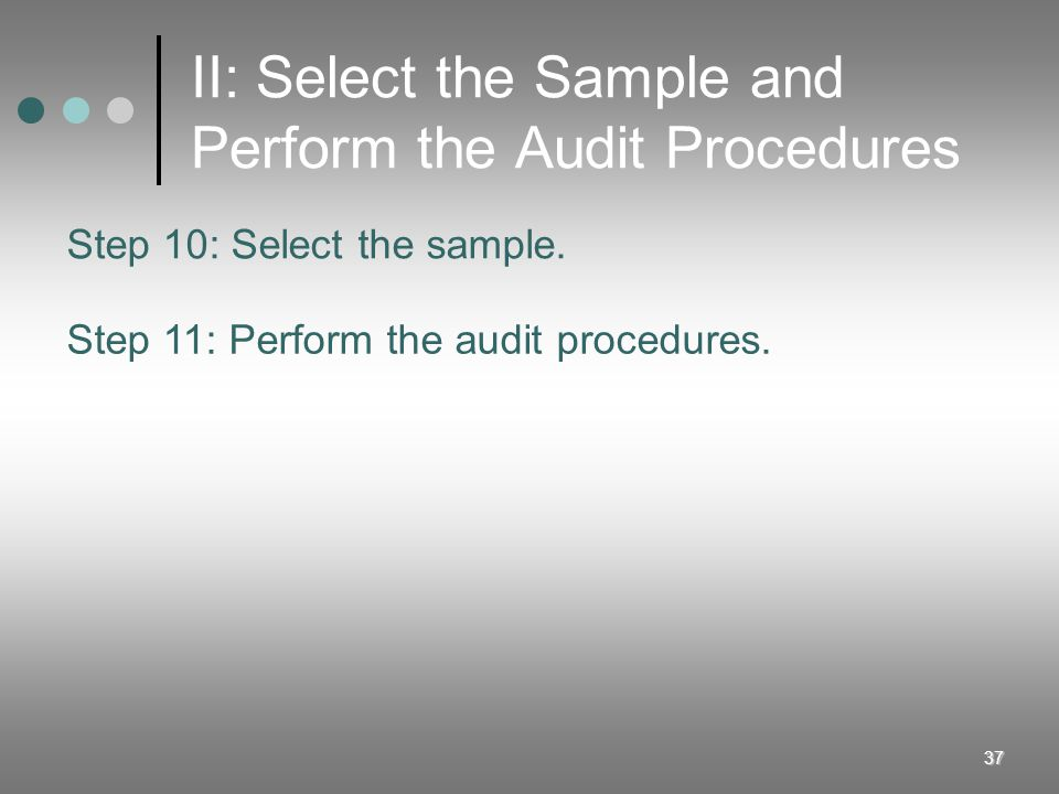 II: Select the Sample and Perform the Audit Procedures