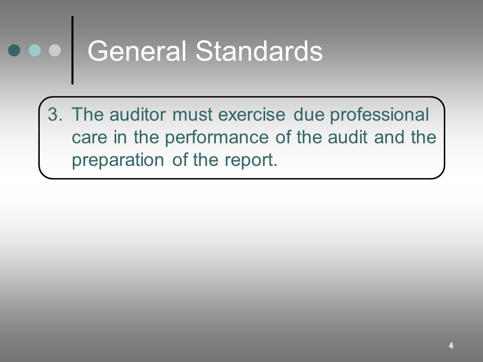 General Standards 3. The auditor must exercise due professional
