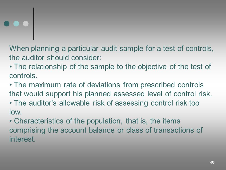 When planning a particular audit sample for a test of controls, the auditor should consider: