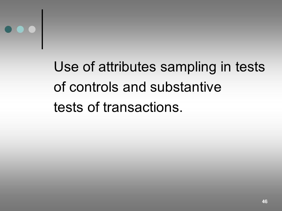 Use of attributes sampling in tests