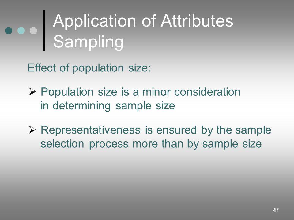 Application of Attributes Sampling