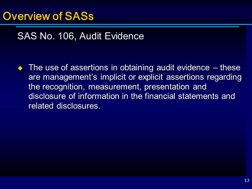 Overview of SASs SAS No. 106, Audit Evidence