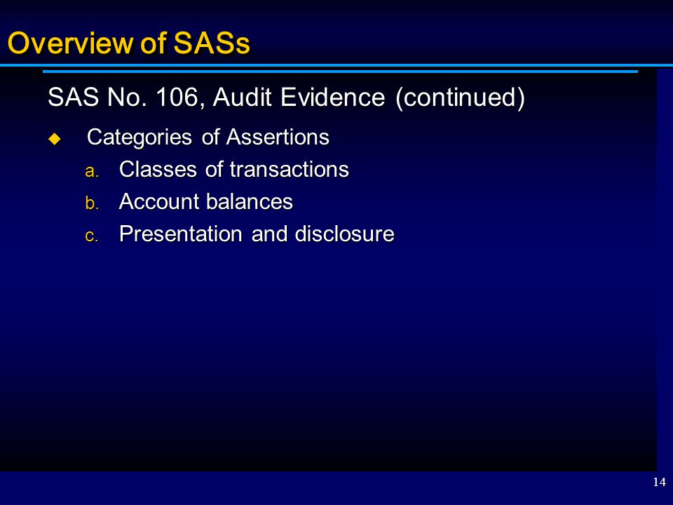 Overview of SASs SAS No. 106, Audit Evidence (continued)