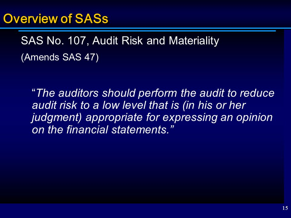 Overview of SASs SAS No. 107, Audit Risk and Materiality
