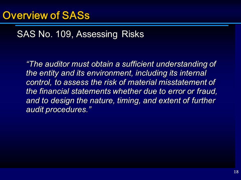 Overview of SASs SAS No. 109, Assessing Risks
