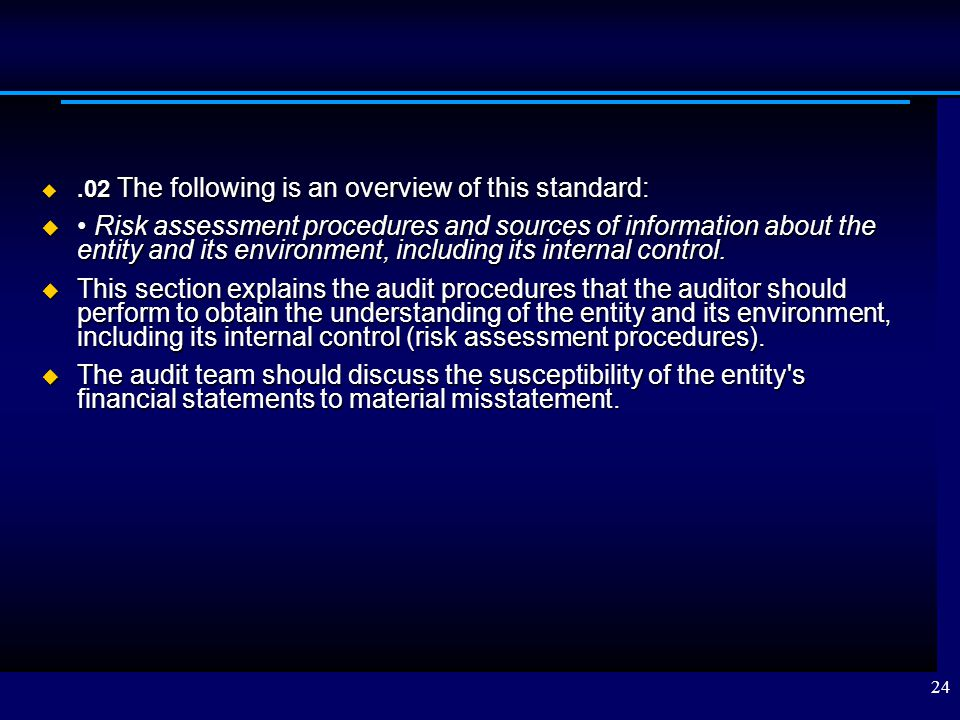 .02 The following is an overview of this standard: