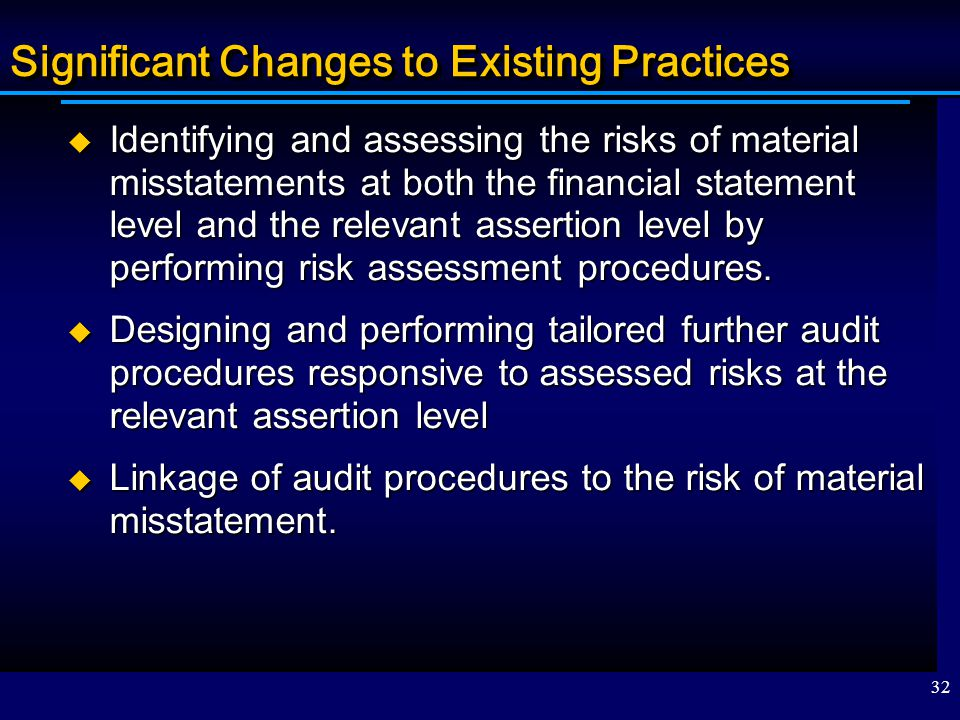 Significant Changes to Existing Practices