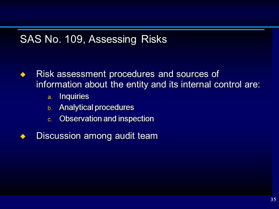 SAS No. 109, Assessing Risks Risk assessment procedures and sources of information about the entity and its internal control are: