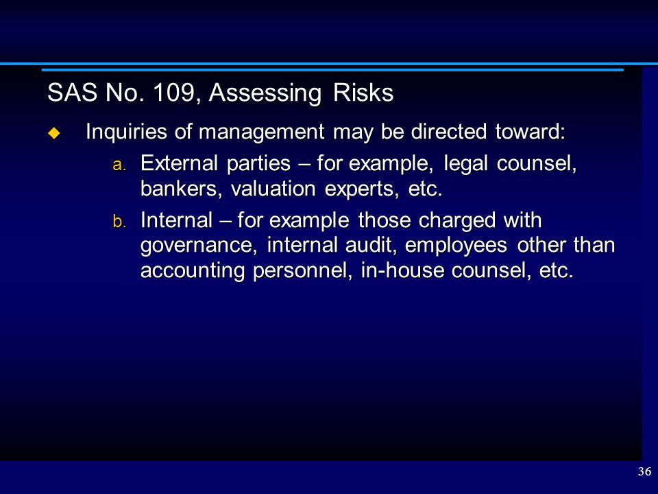 SAS No. 109, Assessing Risks Inquiries of management may be directed toward: