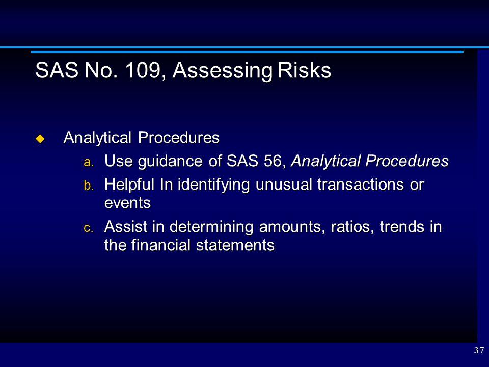 SAS No. 109, Assessing Risks Analytical Procedures